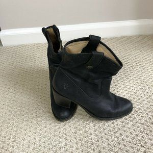Frye Jackie Button Short Boots In Black Leather
